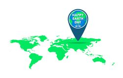 Pointer for Earth Day. Vector illustration. Pointer with a world map for 22 april, in flat design. Vector illustration. Happy Earth Day, ecology concept Royalty Free Stock Photography