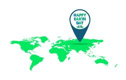 Pointer for Earth Day. Vector illustration. Pointer with a world map for 22 april, in flat design. Vector illustration. Happy Earth Day, ecology concept Royalty Free Stock Photo
