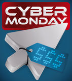 Pointer with Electronic Tag Pushing Red Button of Cyber Monday, Vector Illustration Royalty Free Stock Photos