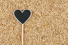 Pointer in the form of heart lies on barley grains Stock Image