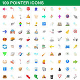 100 pointer icons set, cartoon style. 100 pointer icons set in cartoon style for any design vector illustration Royalty Free Stock Photos
