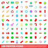 100 pointer icons set, cartoon style Royalty Free Stock Image