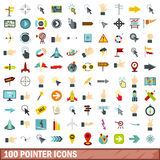 100 pointer icons set, flat style. 100 pointer icons set in flat style for any design vector illustration Stock Photography