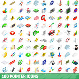 100 pointer icons set, isometric 3d style. 100 pointer icons set in isometric 3d style for any design vector illustration stock illustration
