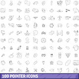 100 pointer icons set, outline style. 100 pointer icons set in outline style for any design vector illustration royalty free illustration