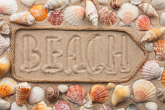 Free Pointer Made Of Rope With An Inscription BEACH, With Sea Shells Stock Image - 72159861