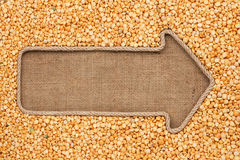 Pointer made from rope with grain peas  lying on sackcloth Royalty Free Stock Images