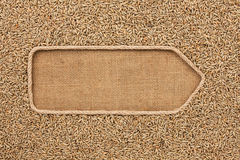 Pointer made from rope with grains rye lying on sackcloth Stock Photography