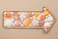 Pointer made of rope with sea shells Stock Photography