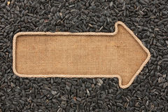 Pointer made from rope with  sunflower seeds  lying on sackcloth Stock Photo