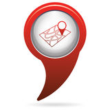 Pointer on map icon Stock Photography