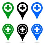 Pointer map pin navigation plus sign stock illustration