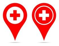 Pointer mapy szpilki nawigaci czerwień plus royalty ilustracja