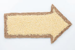 Pointer with millet  grains Stock Photo