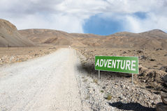 Pointer on mountain road in Tajikistan. Pamir highway Stock Images