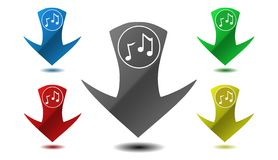 Pointer musical note icon, sign, illustration Royalty Free Stock Photo