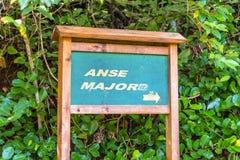 Pointer na Anse Ważnym śladzie plaża, Seychelles zdjęcie stock