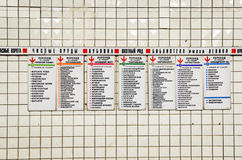 Pointer with names of stations and transitions in Moscow metro Stock Photography
