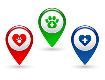 Pointer with paw, heart and veterinary cross Stock Image
