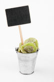 Pointer, price in bucket of  kiwi Royalty Free Stock Images