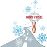 Pointer road in winter. The road to New Year. Christmas pointer Royalty Free Stock Photos