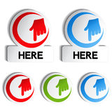 Pointer rounded stickers with gesture hand Royalty Free Stock Photo