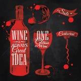 Pointer rysujący nalewa wino kredę royalty ilustracja