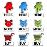 Pointer stickers - here, more, buy Royalty Free Stock Images