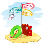 Pointer with a suitcase and beach things Royalty Free Stock Photos