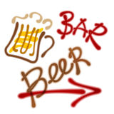 Pointer to the beer bar. Mug with beer, arrow. labels - beer bar Stock Images