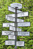 A pointer to the direction and distance to various cities Royalty Free Stock Image