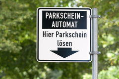 Pointer to the parking machine Stock Photo
