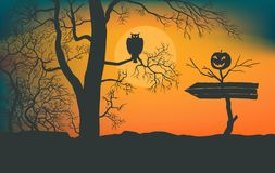 Pointer to scary forest. Awful impassable bushes. Owl sitting on a branch of tree. Dead tree with smiling pumpkin. Arrow to the holiday of halloween. Moonlight Royalty Free Stock Photo