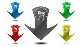 Pointer to the shopping cart, icon, sign, illustration Royalty Free Stock Photography