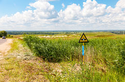 Pointer to the site, where high pressure gas pipeline Stock Photo