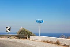 Pointer to the town Oia on Santorini, Greece Royalty Free Stock Image