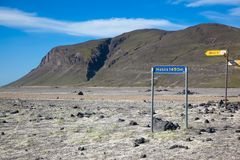 Pointer to the volcano Hekla in Iceland stock photos