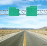 Pointer tracks, green road signs Stock Images