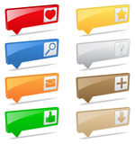Pointers. 3D pointers with icons on white background Stock Photo
