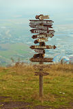 Pointers distances at mountain top Mashuk Stock Images