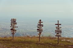 Pointers distances at mountain top Mashuk Royalty Free Stock Images