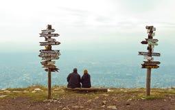 Pointers distances at mountain top Mashuk Stock Photos
