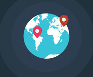 Pointers on the Earth. Map pointers on the earth map Royalty Free Stock Images