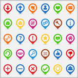 Pointers with icons. Set of pointers with web icons Stock Photography