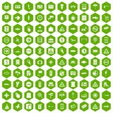 100 pointers icons hexagon green. 100 pointers icons set in green hexagon isolated vector illustration Stock Images