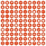 100 pointers icons hexagon orange Royalty Free Stock Image
