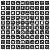 100 pointers icons set black. 100 pointers icons set in black color isolated vector illustration Stock Images