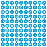 100 pointers icons set blue. 100 pointers icons set in blue hexagon isolated vector illustration Stock Illustration