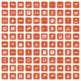 100 pointers icons set grunge orange. 100 pointers icons set in grunge style orange color isolated on white background vector illustration Royalty Free Stock Photos
