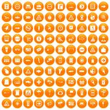 100 pointers icons set orange. 100 pointers icons set in orange circle isolated on white vector illustration Royalty Free Stock Images